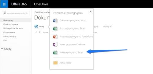formularz internetowy Onedrive