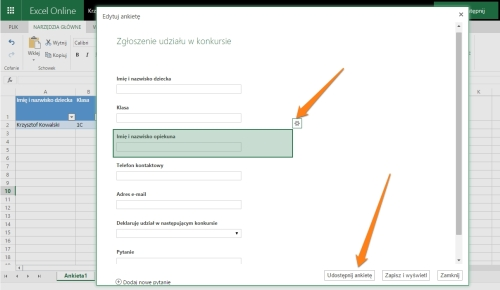 edytowanie pytań wformularzu internetowym
