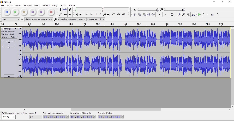 Audacity screen zekranu domontazu muzyki